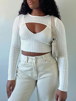 Autumn Knitted Solid Two Pieces Top Women