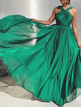 Summer Elegant Solid Evening Maxi Dresses