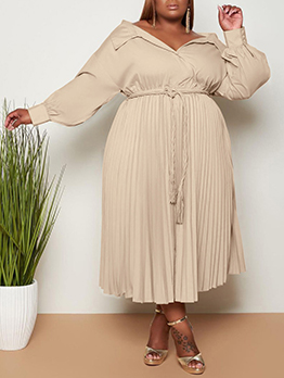 Solid V Neck Pleated Plus Size Maxi Dresses