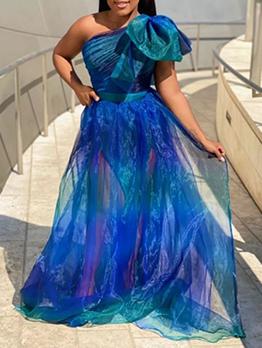 Attractive Patchwork Gauze One Shoulder Maxi Dress