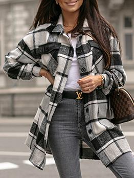 Autumn Vintage Plaid Woollen Coat For Women