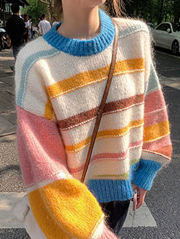 Grunge Style Fall Striped Fresh Sweater For Women