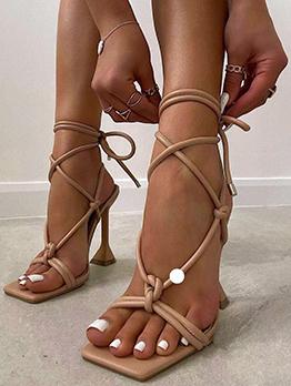 New Print Square Toe Lace Up Ladies Sandal