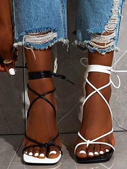 Contrast Color Square Toe Lace Up Heels Sandals