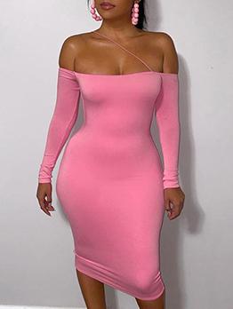 Off Shoulder Solid Sexy Long Sleeve Sheath Dress