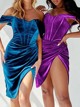 Sexy Off Shoulder Suede Party Short Dresses