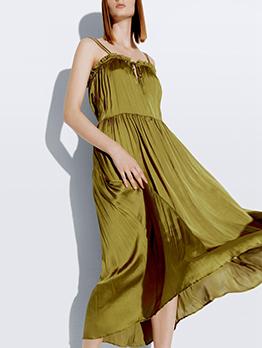 Vacation Stringy Selvedge Tie Wrap Sleeveless Midi Dress