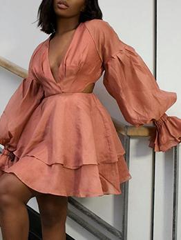 V Neck Lantern Sleeve Sheath Dress Women