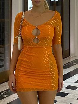 Popular Gauze Hollow Out Short Sleeve Dress
