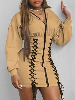 Personality Bandage Design Hooded Zipper Dress