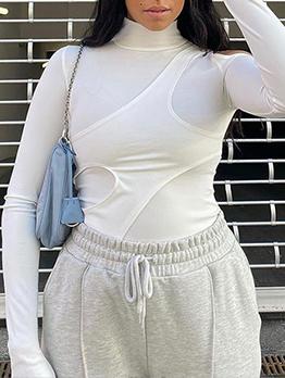 Chic Solid Cold Shoulder Bodycon Bodysuit