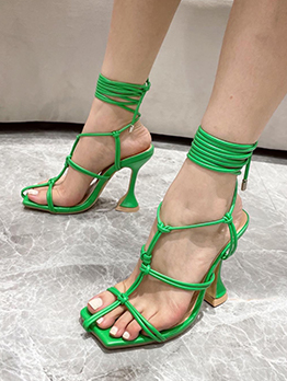 Summer Lace Up Hollow Out  Ankle Strap Heels