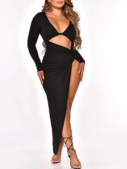 Tempting Solid V Neck Long Slit Maxi Dress