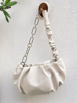 Adorable Solid Cloud Shape Pleated Shoulder Bags