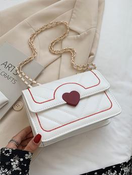 Sweet Adorable Contrast Color Heart Shoulder Bags