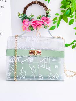 Transparent PVC Graffiti Printed 2 Piece Handbag Sets