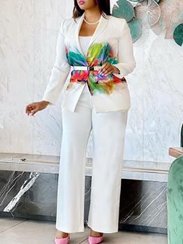 Trendy Printed Fitted 2 Piece Blazer Set