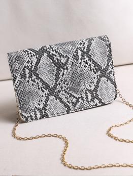 Vintage Snake Printed Chain Hasp Shoulder Bag