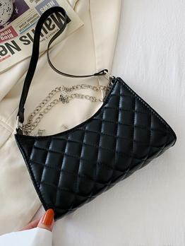 Rhombus Lattice Chain Solid Shoulder Bag For Women