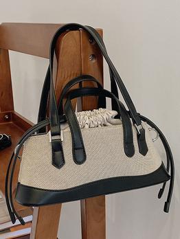 Vintage Fashion Contrast Color Drawstring Canvas Handbag