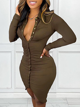 Alluring Solid Single-Breasted Pleated Long Sleeve Dress