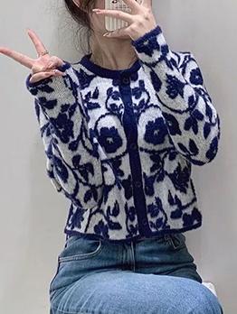 Fall Flower Blue Long Sleeve Button Women Coat