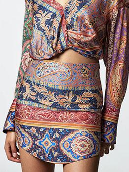 Vintage Round Hem Printed Skirt For Women