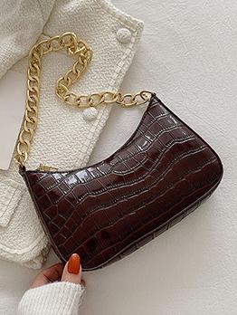 Casual Fashion Black Stone Print Chain Shoulder Bag