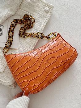 French Stone Print Chain Zipper Ladies Whiteshoulder Bag