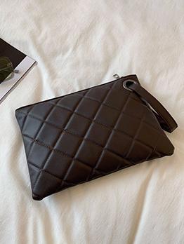Simple Design Rhombus Lattice White Solid Women Clutch Bag