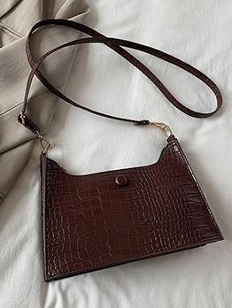Ladies Alligator Print Solid Zipper White Shoulder Bag