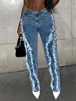 Individual Fringe Edge High Waist Denim Jeans