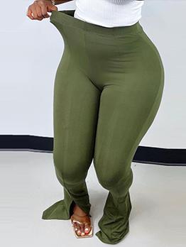 Solid Easy Matching Slit Hip Lift Yoga Pants