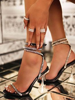 Latest Style Rhinestone Stylish Ankle Heel Sandals
