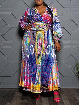 Vintage Print Loose Plus Size Maxi Dress