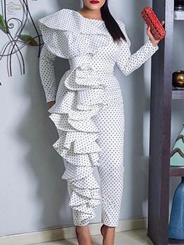 Fashion High Waist Dot Ruffles Long Sleeve Jumpsuit
