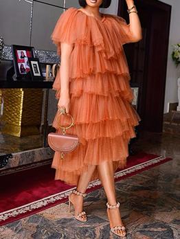 Casual High Waist Ruffled Short Sleeve Maxi Dress