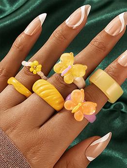 Sweet Butterfly Beaded Flower Multiple Ring Set