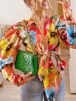 Vintage Ladies Tie Wrap Gigot Sleeve Blouse