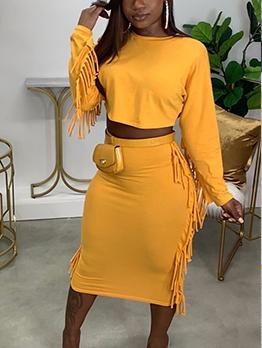 Tassel Design Solid Crop Top And Skirt Set