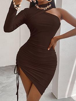Solid Sheath Casual Long Sleeve Dresses