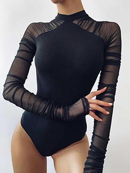 New Arrival Patchwork Gauze Long Sleeve Bodysuit