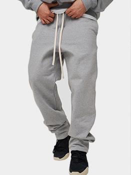 Active Solid Drawstring Breathable Long Pants