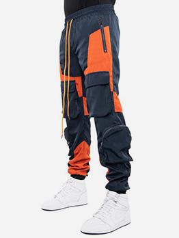Fresh Contrast Color Multiple Pocket Cargo Pants