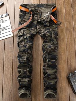 Cool Camouflage Zipper Up Long Jeans Men