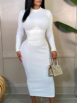 Fall Patchwork  White Long Bodycon Women Maxi Dresses