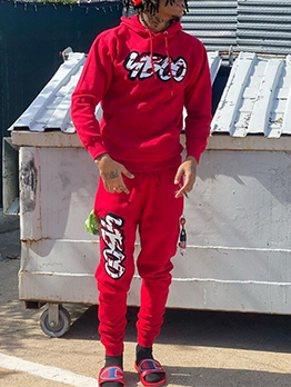 Fashionable Hooded Collar Letter Red Trouser Set