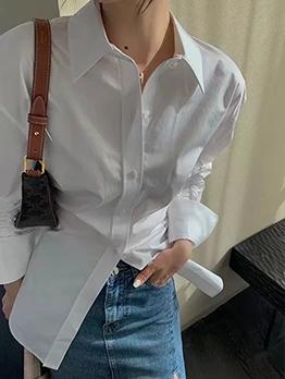 Korean Style Ruched White Ladies Autumn Blouse