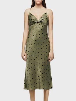 V Neck Dot Sleeveless Midi Dress Women