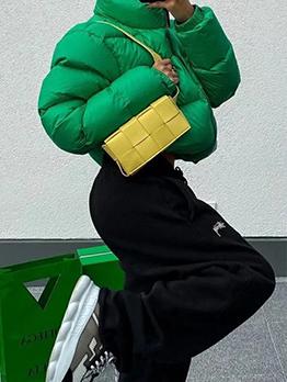 Casual Thicken Front Zipper Down Coat Women
